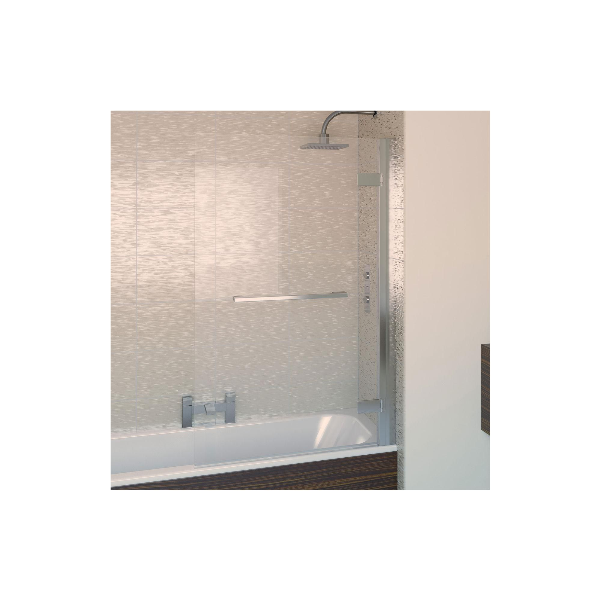 Aqualux AQUA8 Hinge Square Bath Screen, 950mm Wide, Polished Silver Frame, 8mm Glass at Tesco Direct