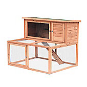 PawHut 2 Tier Wooden Large Rabbit Hutch Outdoor Animal Cage w/ Ramp