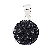 Jewelco London Rhodium-Coated Sterling Silver Black Crystal Shamballa Pendant