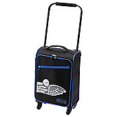 Z Frame Super-Lightweight Suitcase, Black with Blue Trim Small