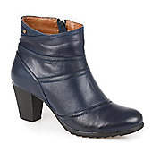 Pavers Leather Ankle Boot with Stitched Panels - Blue