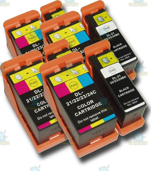8 Dell 21/22/23/24 Non-OEM Ink Cartridges for P513W P713W V313 V313W V515W V715W