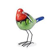 Tropical Bright Terracotta Garden Bird Ornament - Red, Green & Blue