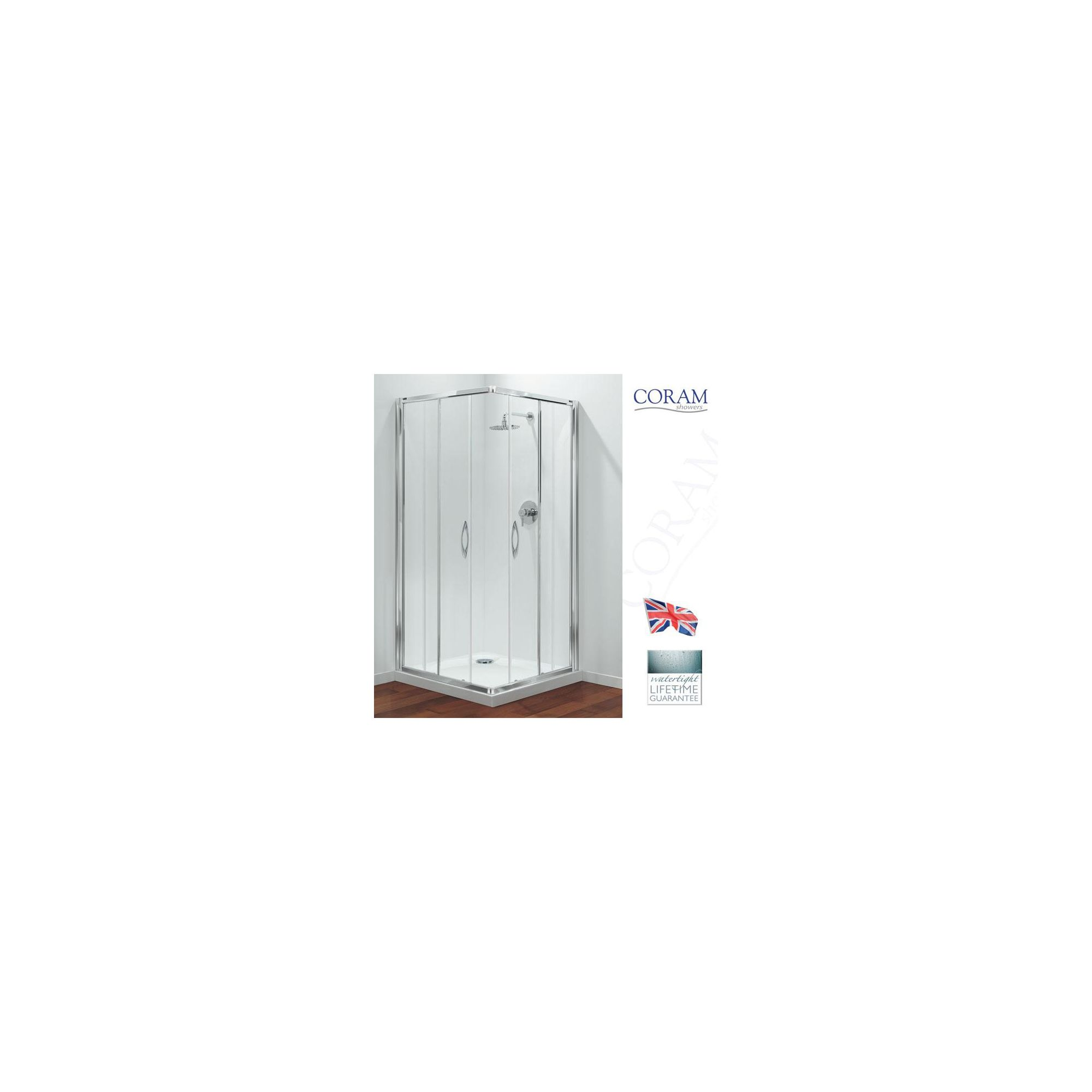 Coram Premier Corner Entry Shower Enclosure, 760mm x 760mm, Low Profile Tray, 6mm Glass at Tesco Direct