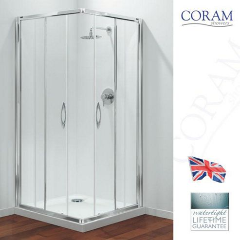 Coram Premier Corner Entry Shower Enclosure, 760mm x 760mm, Low Profile Tray, 6mm Glass