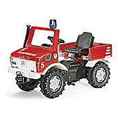 Rolly Fire Brigade Unimog With Gears & Handbrake & Blue Flashing Light