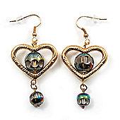 Gold Tone Open Heart Glass Bead Drop Earrings - 6cm Length