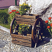 Cartwheel - Solid Wood Garden Flower Planter / Pot - Burntwood