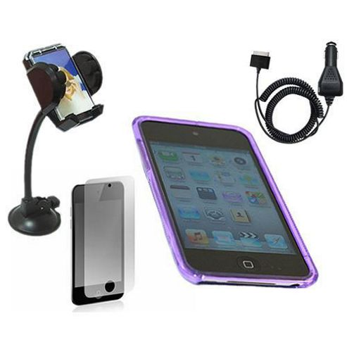 iTALKonline LCD Protector, Car Charger, Car Holder and WAVE Case Solid Purple - For Apple iPod Touch 4