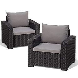 Allibert California Pair of Chairs - Graphite Grey
