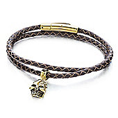 Shimla Mens Gold Skull Leather Strap Bracelet - SH-153