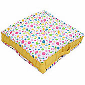 Homescapes Cotton Multi Coloured Polka Dot Floor Cushion, 50 x 50 cm