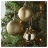 Tesco Mixed Bauble Pack, Gold, 40 Piece