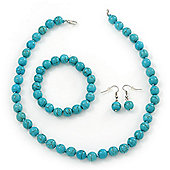 Turquoise Style Round Bead Necklce, Drop Earrings & Flex Bracelet - 40cm Length