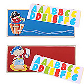 Bigjigs Toys Name Plaque (Pirate) (Pack of 2 - Red and Dark Blue)