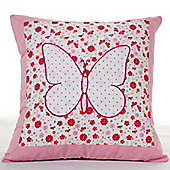 Pink Butterfly Cotton Children's Cushion
