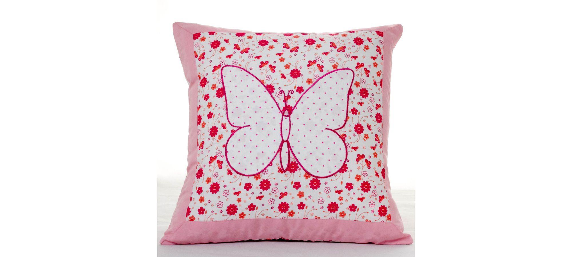 Pink Butterfly Cotton Children's Cushion