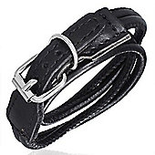 Urban Male Black Leather Wrap Bracelet With Buckle Clasp