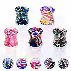 Urban Male Pack of Five Acrylic Multi Colour Marble Effect Ear Stretching Flesh Plugs 5mm