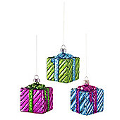Set of Three Large Glass Present Themed Christmas Baubles