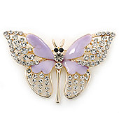 Dazzling Diamante/ Lavender Enamel Butterfly Brooch In Gold Plaiting - 70mm Width
