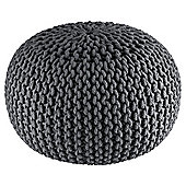 Kaikoo Charcoal Chunky Knitted Pouffe