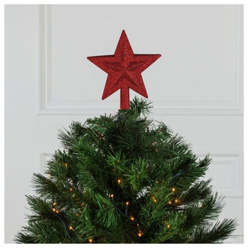 Tesco Red Glitter Christmas Tree Topper