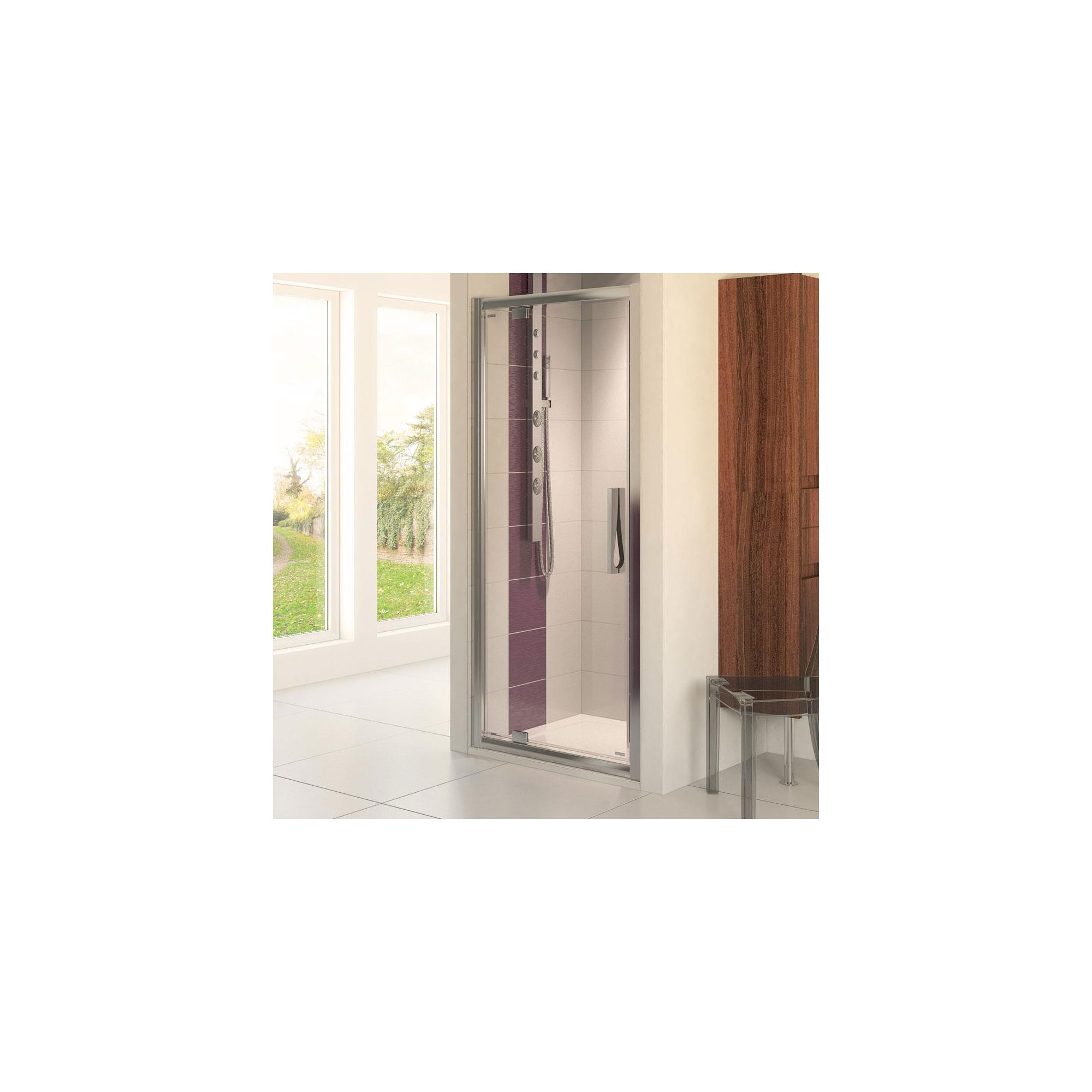Aqualux AQUA8 Glide Pivot Shower Door, 900mm Wide, Polished Silver Frame, 8mm Glass at Tesco Direct