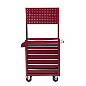 Homcom Rolling tool Cabinet with Peg Board in Red
