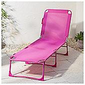 Folding Sun Lounger, Pink