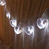 10 White LED Heart Battery Fairy Lights