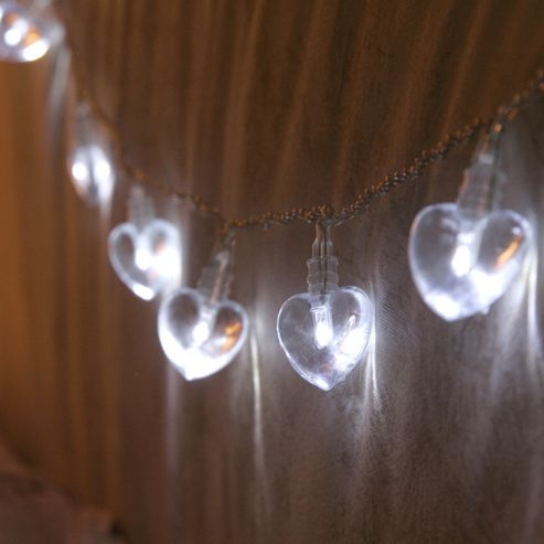 Buy 10 White Led Heart Battery Fairy Lights From Our