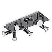 Consul Six Way High Power LED GU10 Ceiling Spotlight, Black Chrome