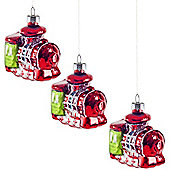 Set of Three Brightly Coloured Glass Hanging Train Christmas Tree Decorations