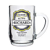 Personalised Classic Pint Glass Beer Tankard