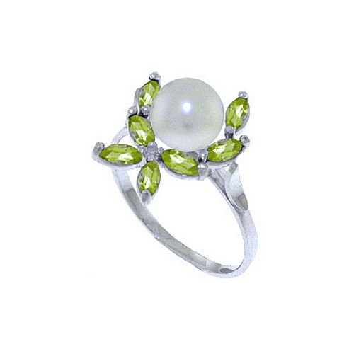 QP Jewellers Peridot & Pearl Ivy Ring in 14K White Gold - Size F 1/2
