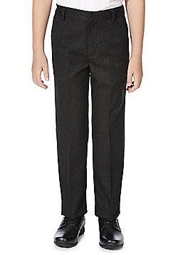 F&F School Boys Flat Front Slim Leg Trousers - Grey