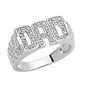 Rhodium-Coated Sterling Silver CZ Gents Family Ring Size