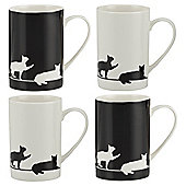 Tesco Silhouette Cat Set Of 4 Porcelain Mugs