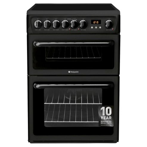 Hotpoint HAE60KS, Freestanding, Electric Cooker, 60cm, Black, Twin Cavity, Double Oven