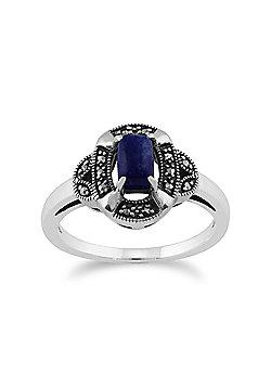 Gemondo 925 Sterling Silver 0.50ct Lapis Lazuli & Marcasite Art Deco Ring