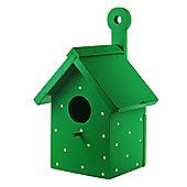 Bright Green Wooden Wall Mountable Decorative Garden Bird Box House