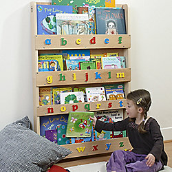 Tidy Books Bookcase in Clear Lacquer, Lowercase Letters