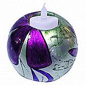 Shine - Glazed Ceramic Medium Globe Tea Light / Candle Holder - Purple
