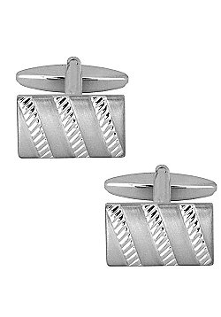 Dual Finish Striped Rectangle Cufflinks