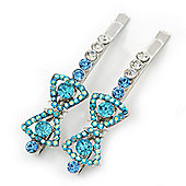 Pair Of Clear/Sky Blue/ AB Swarovski Crystal 'Bow' Hair Slides In Rhodium Plating - 60mm Length