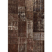 Angelo Up-Cycle Brown Rug - 200cm x 140cm (6 ft 6.5 in x 4 ft 7 in)
