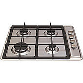 CDA HG6120SS Four Burner Gas Hob With Cast Iron Pan Stands Stainless Steel