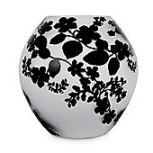 Balla Frosted Floral Filigree Design Glass Ball Table Lamp in White with Black Pattern