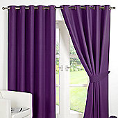 Dreamscene Ring Top Lined Pair Eyelet Thermal Blackout Curtains - Plum Purple - Plum